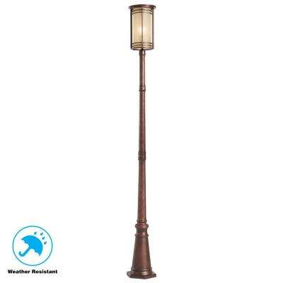Bronze Outdoor Post Light with Amber Glass