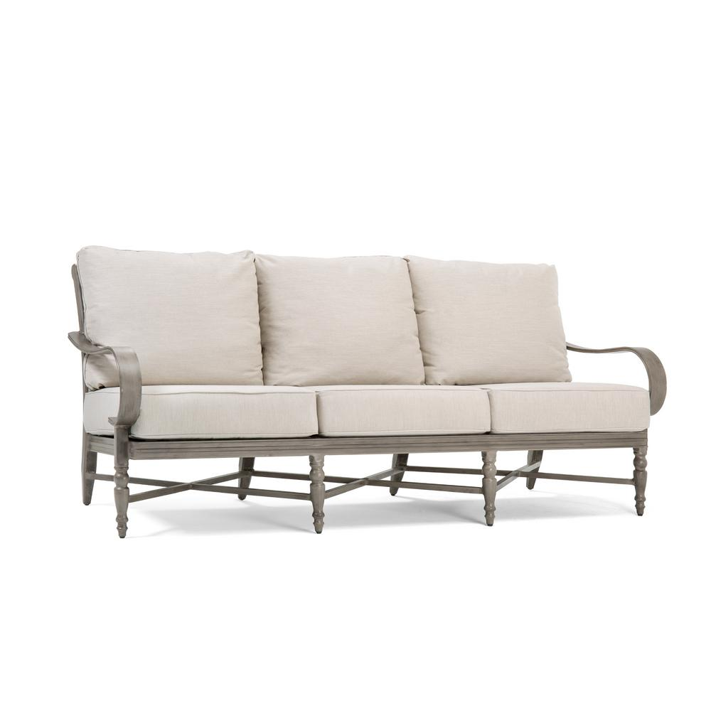 Saylor Wicker Outdoor Sofa with Outdura Remy Sand Cushion