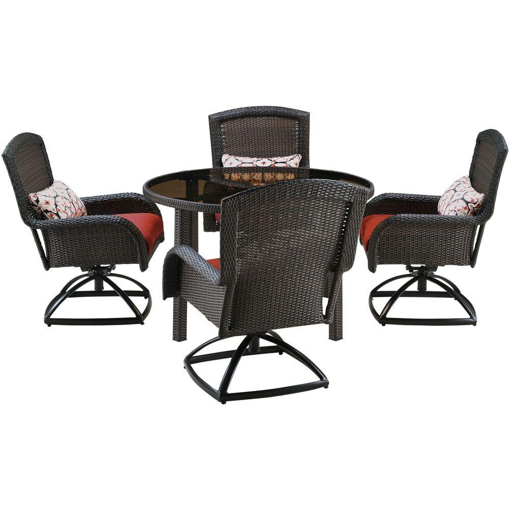 Hanover Strathmere 5 Piece All Weather Wicker Round Patio
