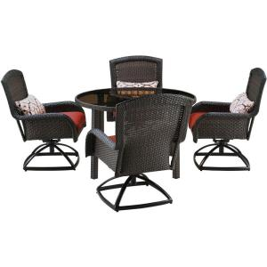 Hanover Strathmere 5-Piece All-Weather Wicker Round Patio Dining Set with Four Swivel... by Hanover