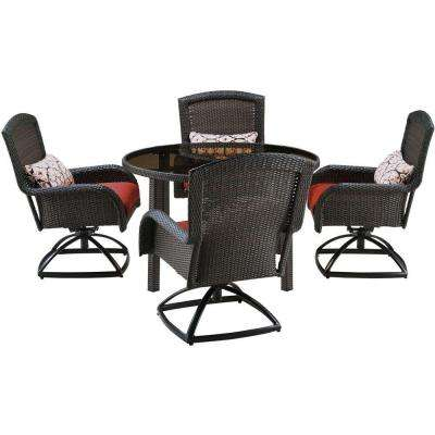 Strathmere 5-Piece All-Weather Wicker Round Patio Dining Set with Four Swivel Chairs and Crimson Red Cushions