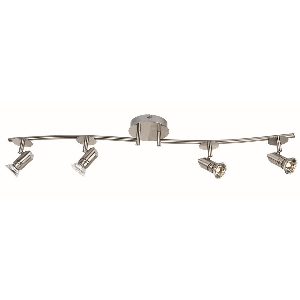 3 ft. 4-Light Brushed Steel Halogen Track Lighting Kit