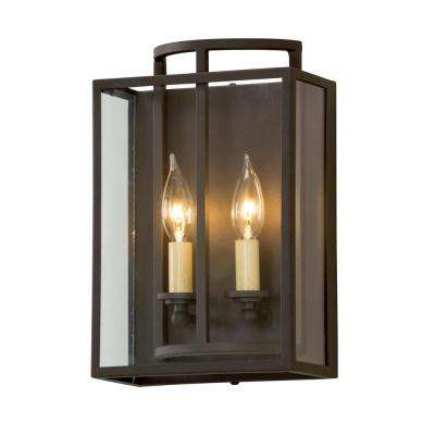 Maddox 2-Light Textured Bronze Wall Mount Sconce