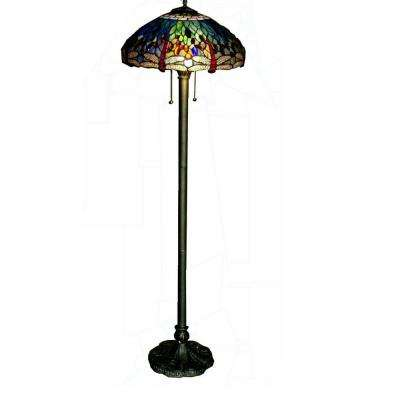 62 in. Brass Dragonfly Stained Glass Floor Lamp with Pull Chain Switch