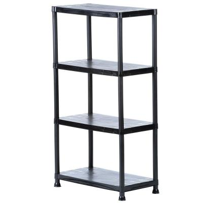 4-Shelf 15 in. D x 28 in. W x 52 in. H Black Plastic Storage Shelving Unit