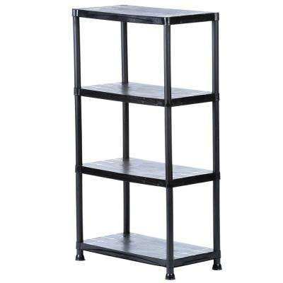 4-Tier Plastic Garage Storage Shelving Unit in Black (28 in. W x 52 in. H x 15 in. D)