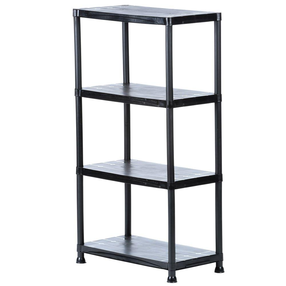 HDX 4-Shelf 15 in. D x 28 in. W x 52 in. H Black Plastic Storage Shelving Unit