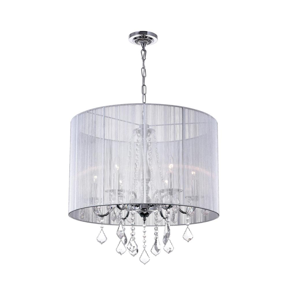Cwi Lighting Sheer 6 Light Chrome Chandelier With Silver Shade
