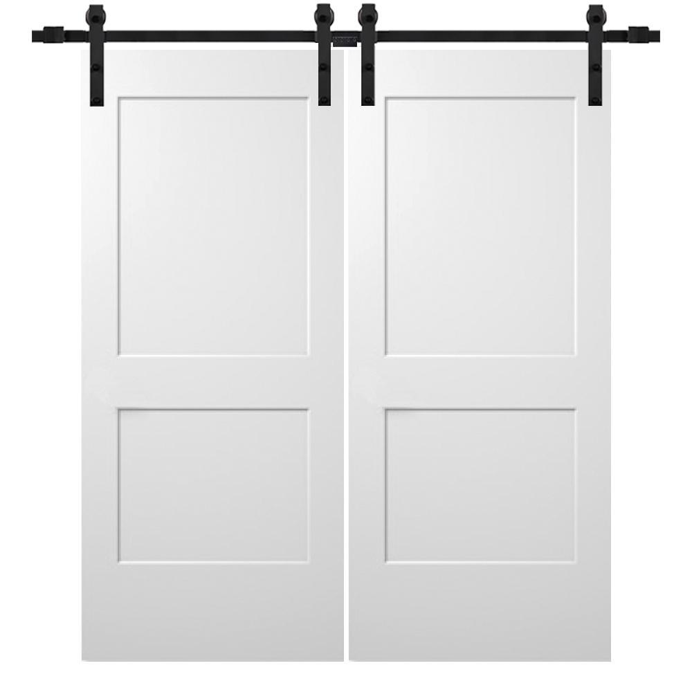 64 in. x 80 in. Smooth Monroe Primed Composite Double Barn Door with Matte Black Sliding Door Hardware Kit