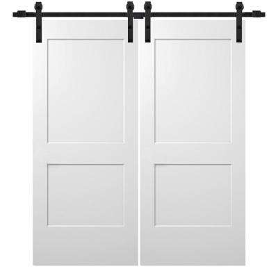 72 in. x 80 in. Smooth Monroe Primed Composite Double Barn Door with Matte Black Sliding Door Hardware Kit
