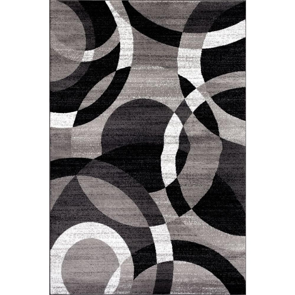 World Rug Gallery Contemporary Modern Circles Abstract Gray 2 Ft X 3 Indoor Area