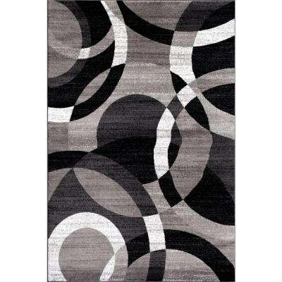 Contemporary Modern Circles Abstract Gray 5 Ft 3 In X 7