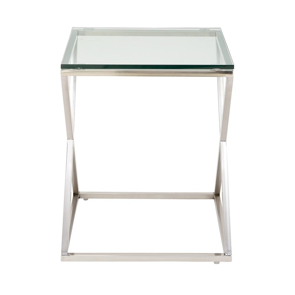 Clear Rectangular Side Table with Silver Cross Legs