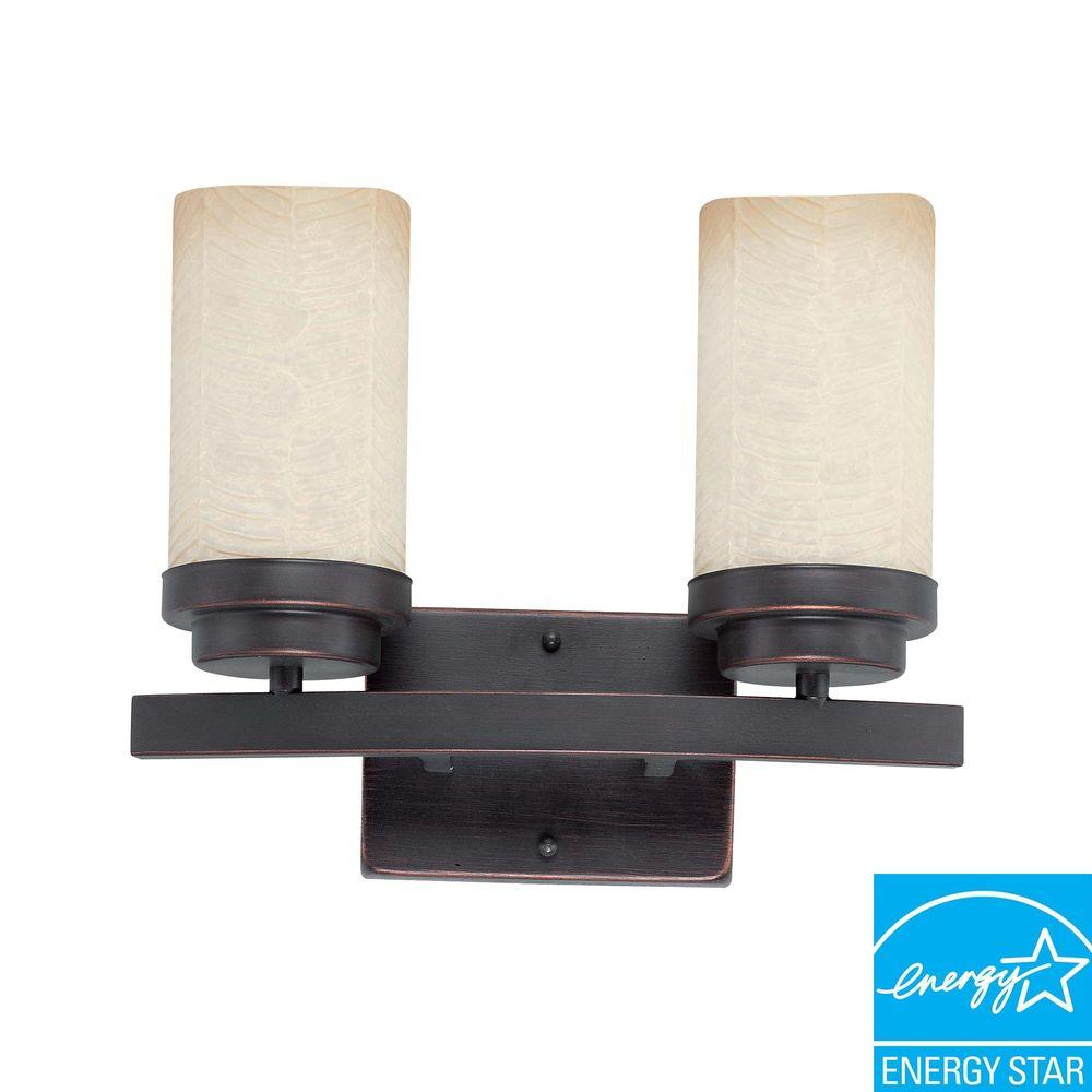 Glomar Lucern 2-Light Patina Bronze Vanity Wall Light-DISCONTINUED