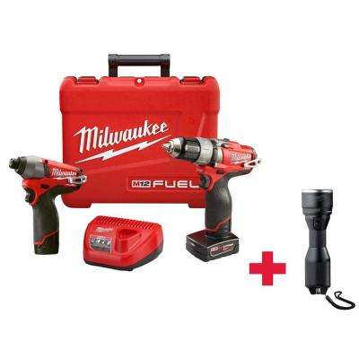 M12 FUEL 12-Volt Cordless Lithium-Ion 1/2 in. Drill/Driver and Impact Combo Kit /W Free M12 LED Metal Flashlight