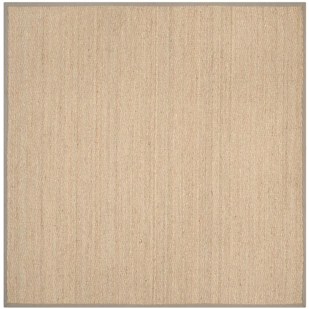 Safavieh natural fiber beige grey 8 ft x 8 ft square for Grey and tan rug