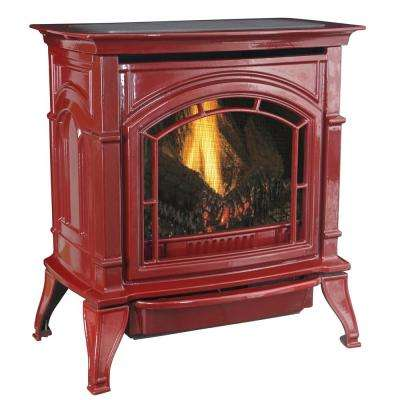 31,000 BTU Vent-Free Red Enameled Porcelain Cast Iron LP Propane Gas Stove