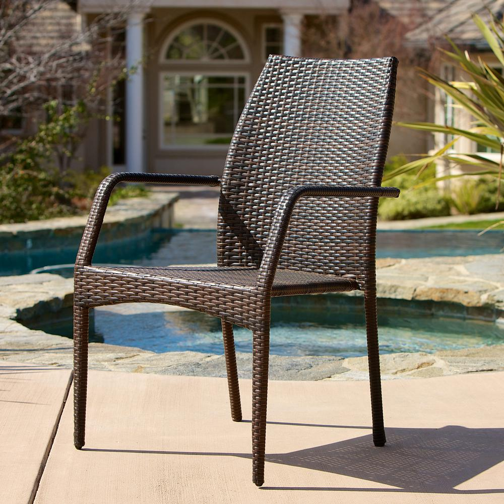 b682cb911375 Noble House Canoga Multi Brown Wicker Outdoor Dining Chairs (Set of ...