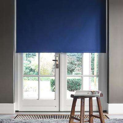 Cut-to-Width Marine Blue Polyester Blackout Spring Roller Shade -  58 in. W x 72 in. L