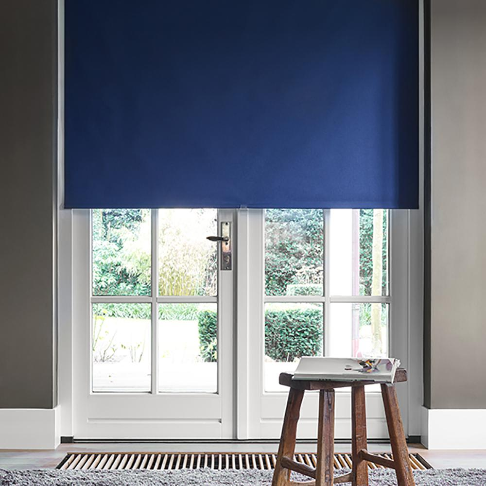 Cut-to-Width Marine Blue Polyester Blackout Spring Roller Shade - 59 in.