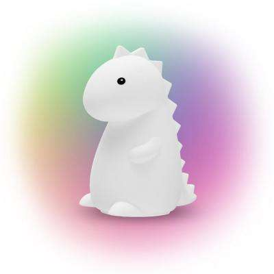 Silicone Tommy Dinosaur White LED Multi-Color Changing Integrated Rechargeable Night Light