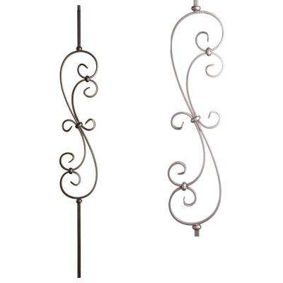 Scrolls 44 in. x 0.5 in. Ash Grey Large Spiral Scroll Hollow Wrought Iron Baluster