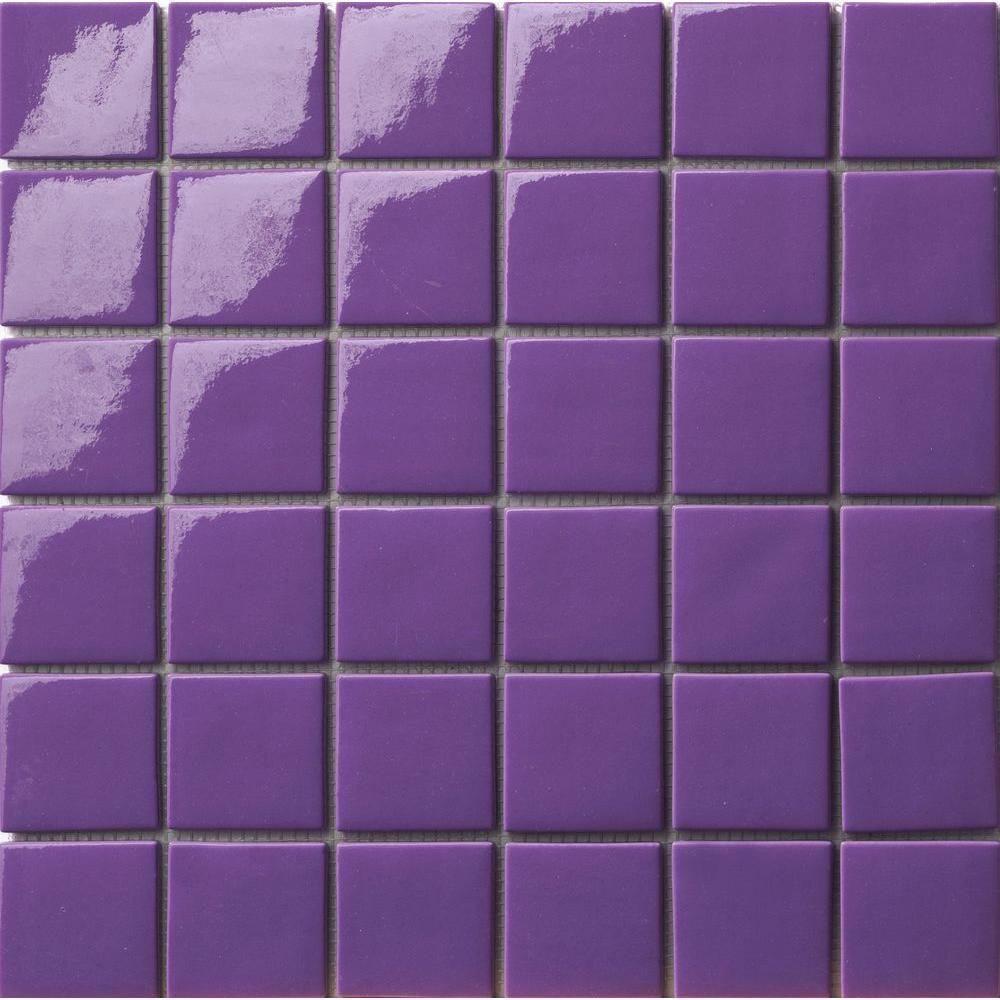 Elementz 12.5 in. x 12.5 in. Capri Viola Glossy Glass Tile-DISCONTINUED