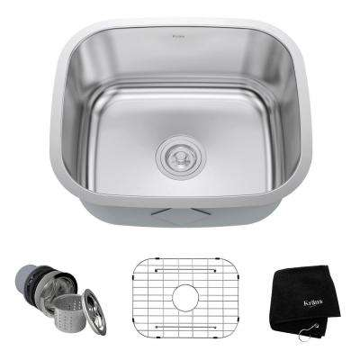 Undermount Stainless Steel 21 in. Single Bowl Kitchen Sink Kit