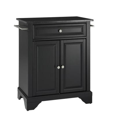 Lafayette Black Portable Kitchen Island with Granite Top