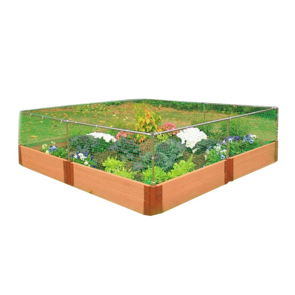 Frame It All One Inch Series 8 ft. x 8 ft. x 11 in. Composite Raised Garden Bed Kit with 2 Animal Barriers