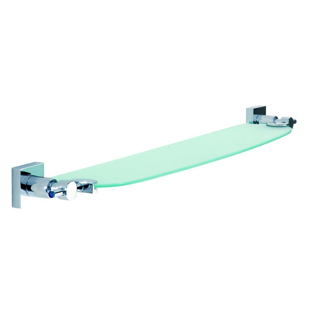No Drilling Required Hukk 25 in. Glass Shelf in Chrome with Frosted Glass Shelf in Chrome