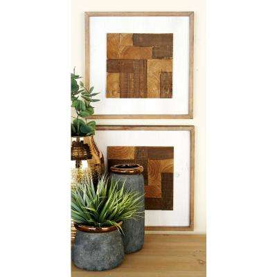 Modern Brown Wooden Tiled Pattern Wall Decor (3-Pack)