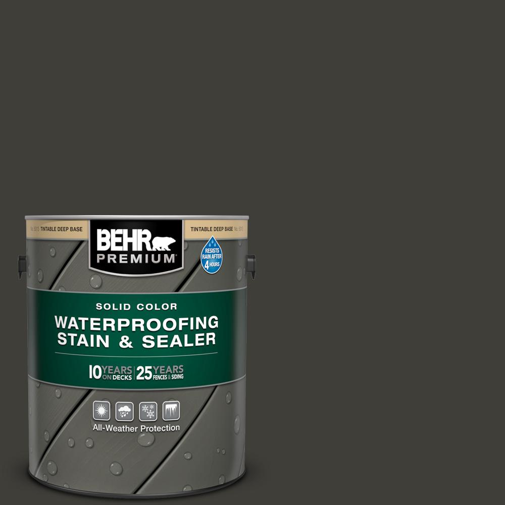 BEHR PREMIUM 1 gal. #SC-102 Slate Solid Color Waterproofing Exterior Wood Stain and Sealer