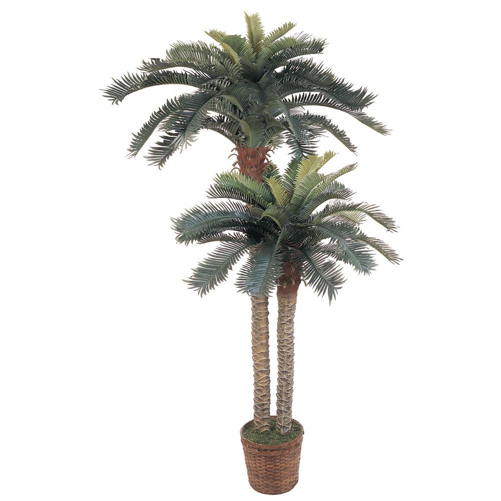Nearly Natural 6 ft. and 4 ft. Sago Palm Double Potted Si...