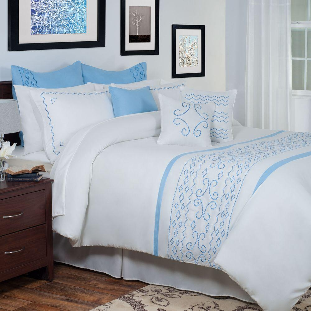null Isabella White Embroidered 13-Piece Queen Comforter Set