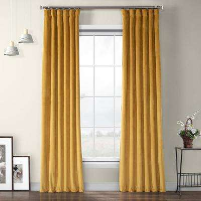 Aztec Gold Heritage Plush Velvet Curtain - 50 in. W x 96 in. L