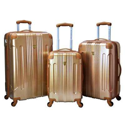 3-Piece Pale Gold Expandable Hardside Metallic Vertical Luggage Set