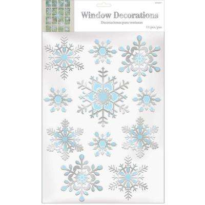 5.5 in. Snowflake Embossed Foil Window Decoration (3-Pack)