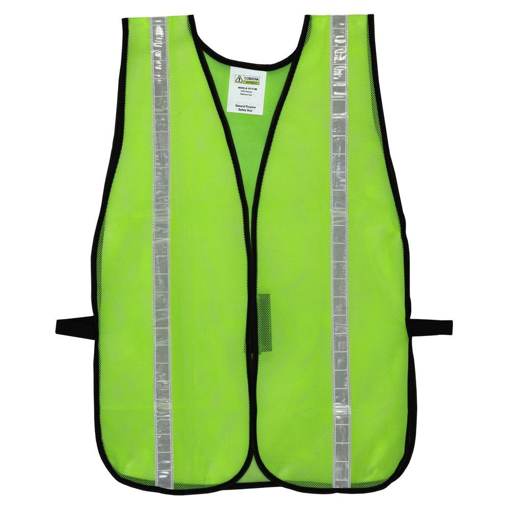 Cordova High Visibility Lime Green Mesh Safety Vest (One Size Fits All)