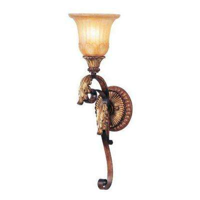 1-Light Verona Bronze with Aged Gold Leaf Accents Sconce and Rustic Art Glass