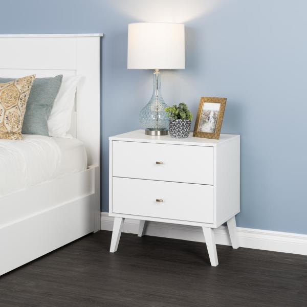 Prepac Milo Mid Century Modern 2 Drawer White Nightstand Wdnr 1402 1 The Home Depot