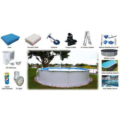 24 ft. Round x 52 in. D Above Ground Pool Package (12 Additional Items Included)