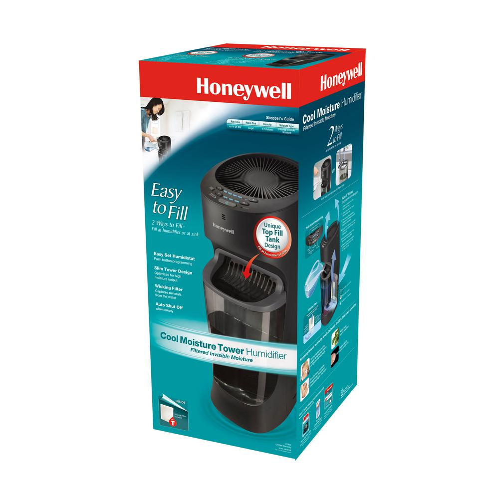 Honeywell Humidifier 1.5 Gal Cool Mist Top Fill Tower Filter Check Indicator