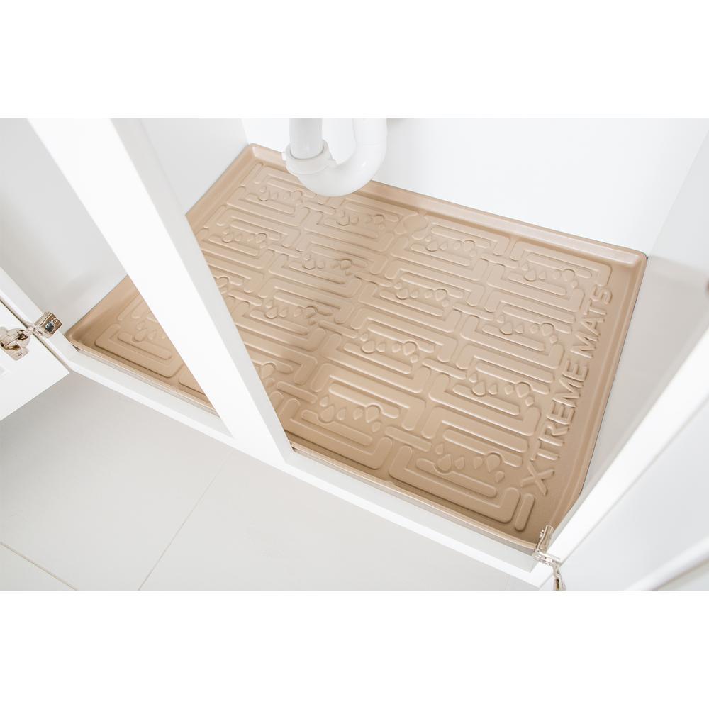 Beige Kitchen Depth Under Sink Cabinet Mat Drip Tray Shelf Liner (30-3/8 in. x 21-1/2 in. )