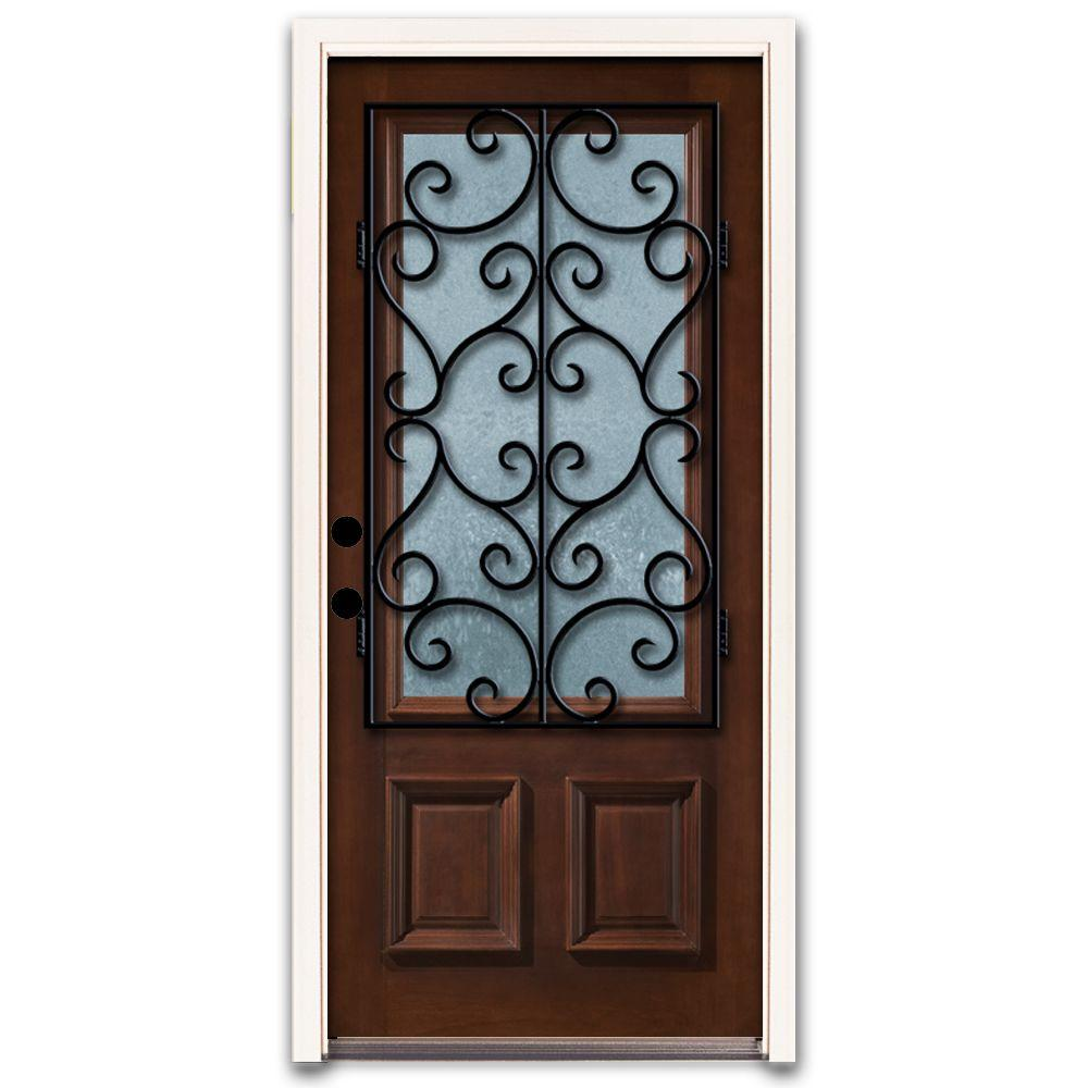Steves & Sons Charleston 3/4 Lite Stained Mahogany Wood Prehung Front Door-DISCONTINUED