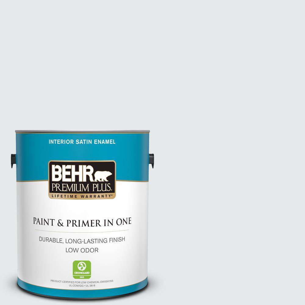BEHR Premium Plus 1 gal. #PWN-44 Bay Breeze Satin Enamel Low Odor Interior Paint and Primer in One