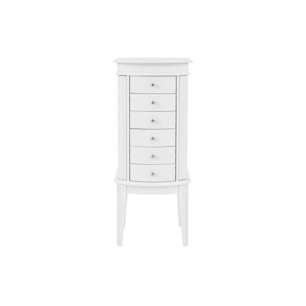 StyleWell 6 Drawer White Wood Jewelry Armoire with Curved Detail (17 in W. X 40 in H.)
