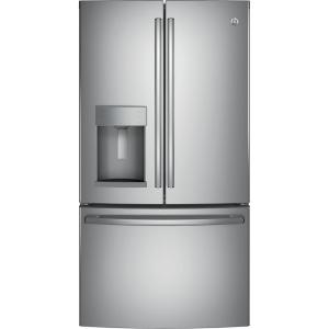 Ge 222 Cu Ft French Door Refrigerator In Stainless Steel Counter