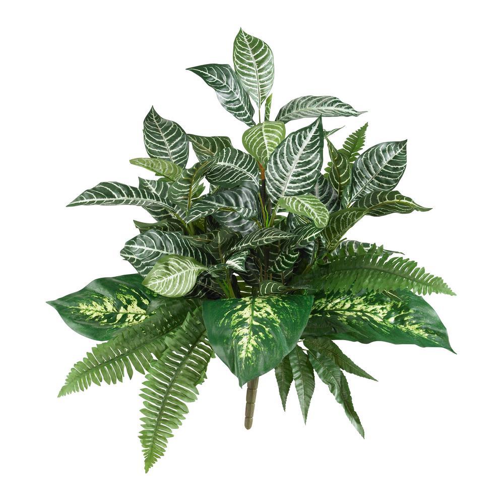 Indoor 25 in. Mix Greens Artificial Plant (2-Set)