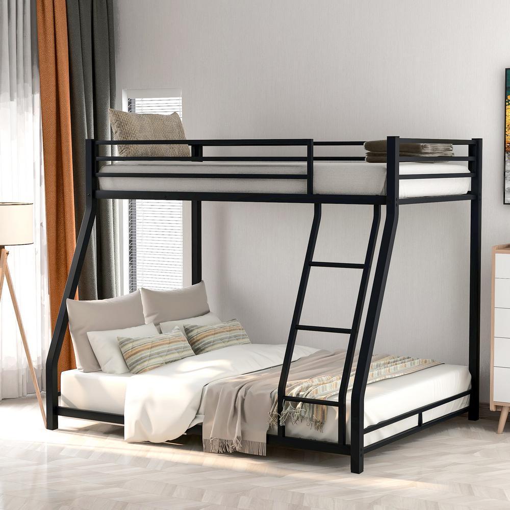 Black Twin Over Full Metal Floor Bunk Bed